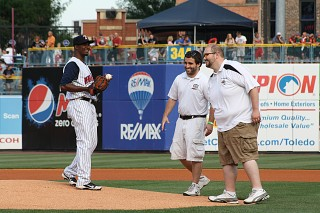 Nick & Josh deliver the game ball to the mound at Fifth Third Field